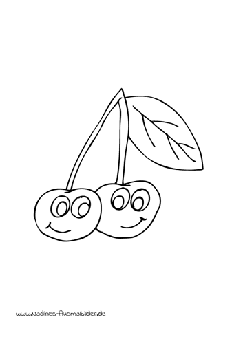 Ausmalbild 2 Kirschen mit grünem Blatt
