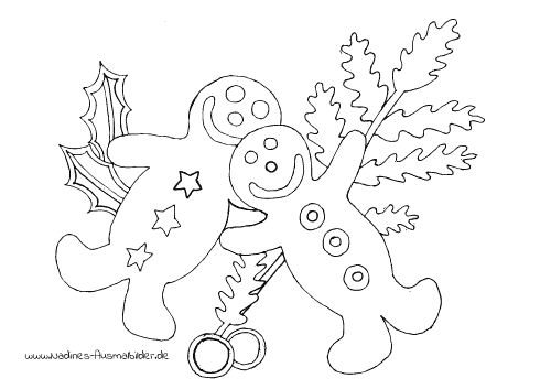 Ausmalbild 2 lachende Pfefferkuchenmänner/Lebkuchenmänner