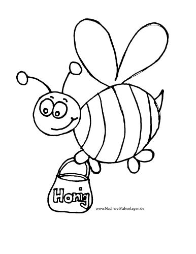 Ausmalbild Biene mit Honigtopf