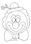 Ausmalbild Bunter Clown mit Blume am Hut und Fliege