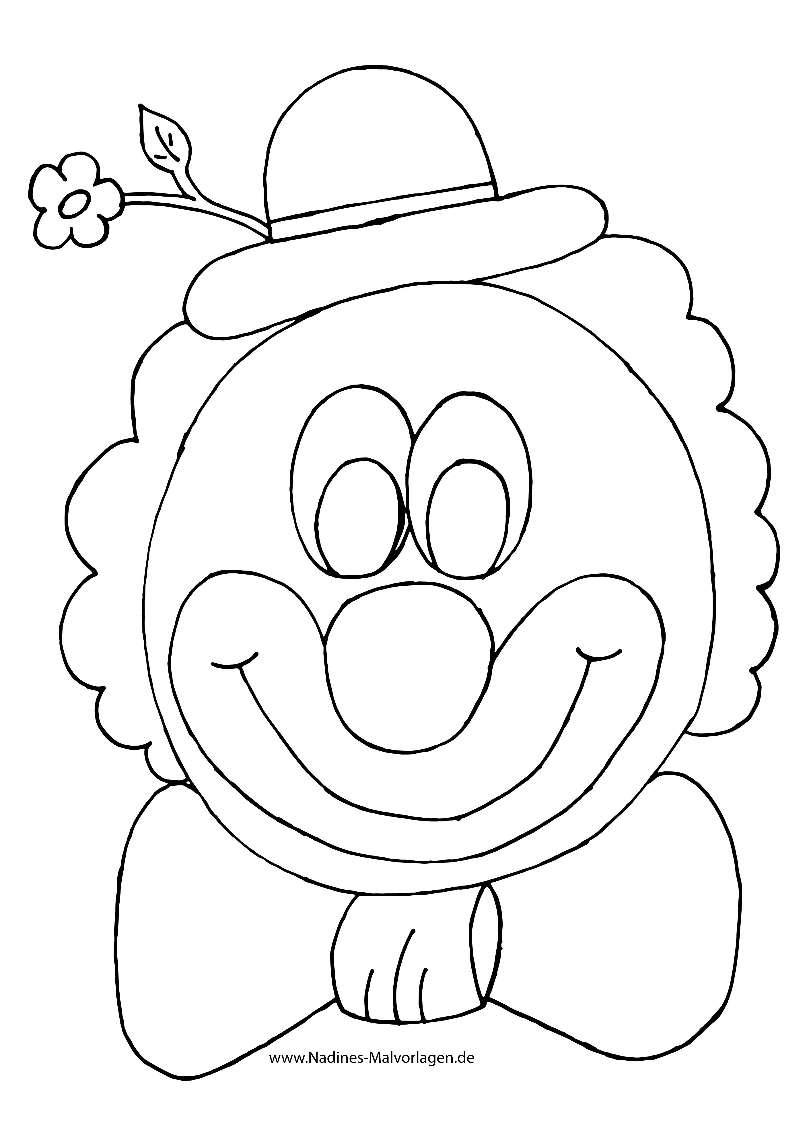Bunter Clown mit Blume am Hut mit Fliege