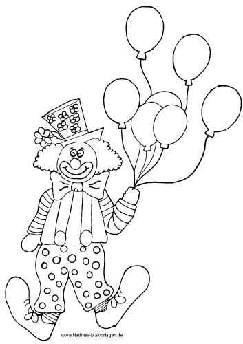 Ausmalbild Bunter Clown mit Luftballons