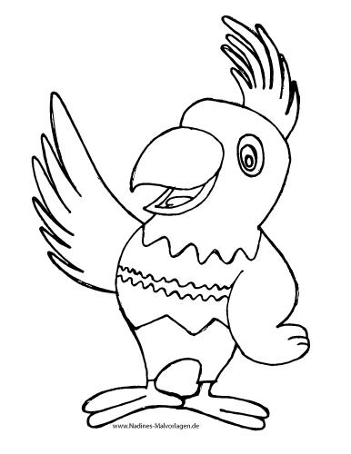 Ausmalbild Bunter Papagei