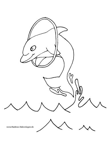 Delfin springt durch Reifen im Meer - Nadines Ausmalbilder