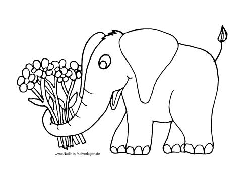 Ausmalbild Elefant mit bunten Blumen