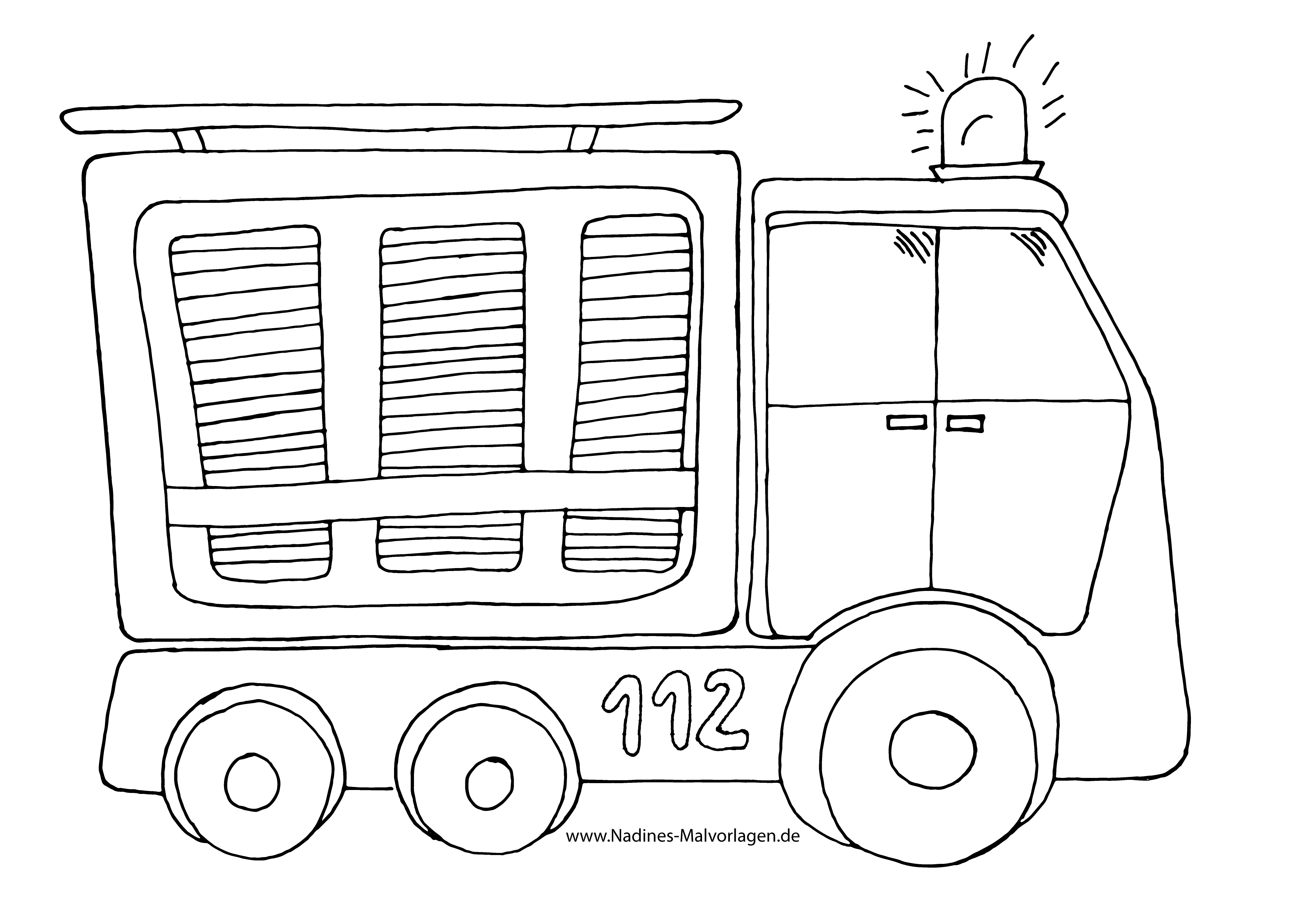 Feuerwehrauto mit Blaulicht - Nadines Ausmalbilder