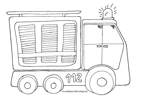Ausmalbild Feuerwehrauto mit Blaulicht