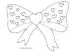 Ausmalbild Fliege/Schleife mit großem Herz und vielen kleinen Herzen