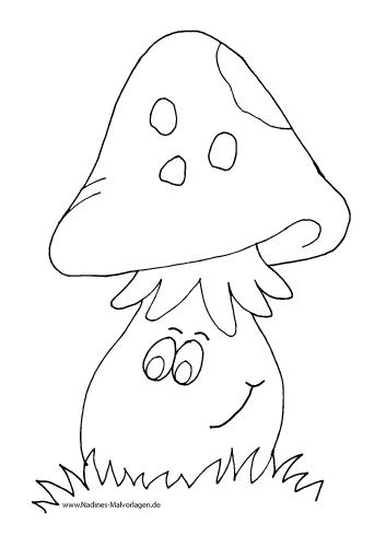 Ausmalbild Frecher fröhlicher Pilz