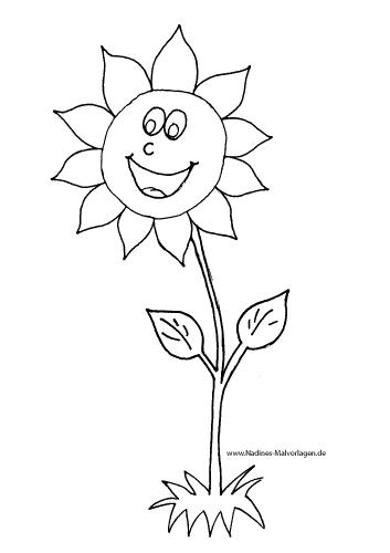 fröhliche sonnenblume  nadines ausmalbilder