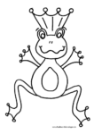 Ausmalbild Froschkönig mit Krone