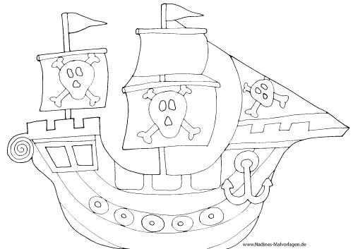 Gefährliches Piratenschiff 001 Nadines Ausmalbilder