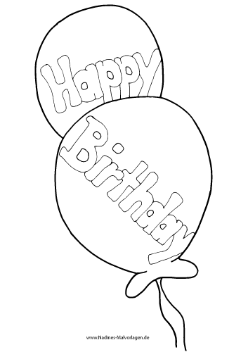 Ausmalbild Happy Birthday Luftballons