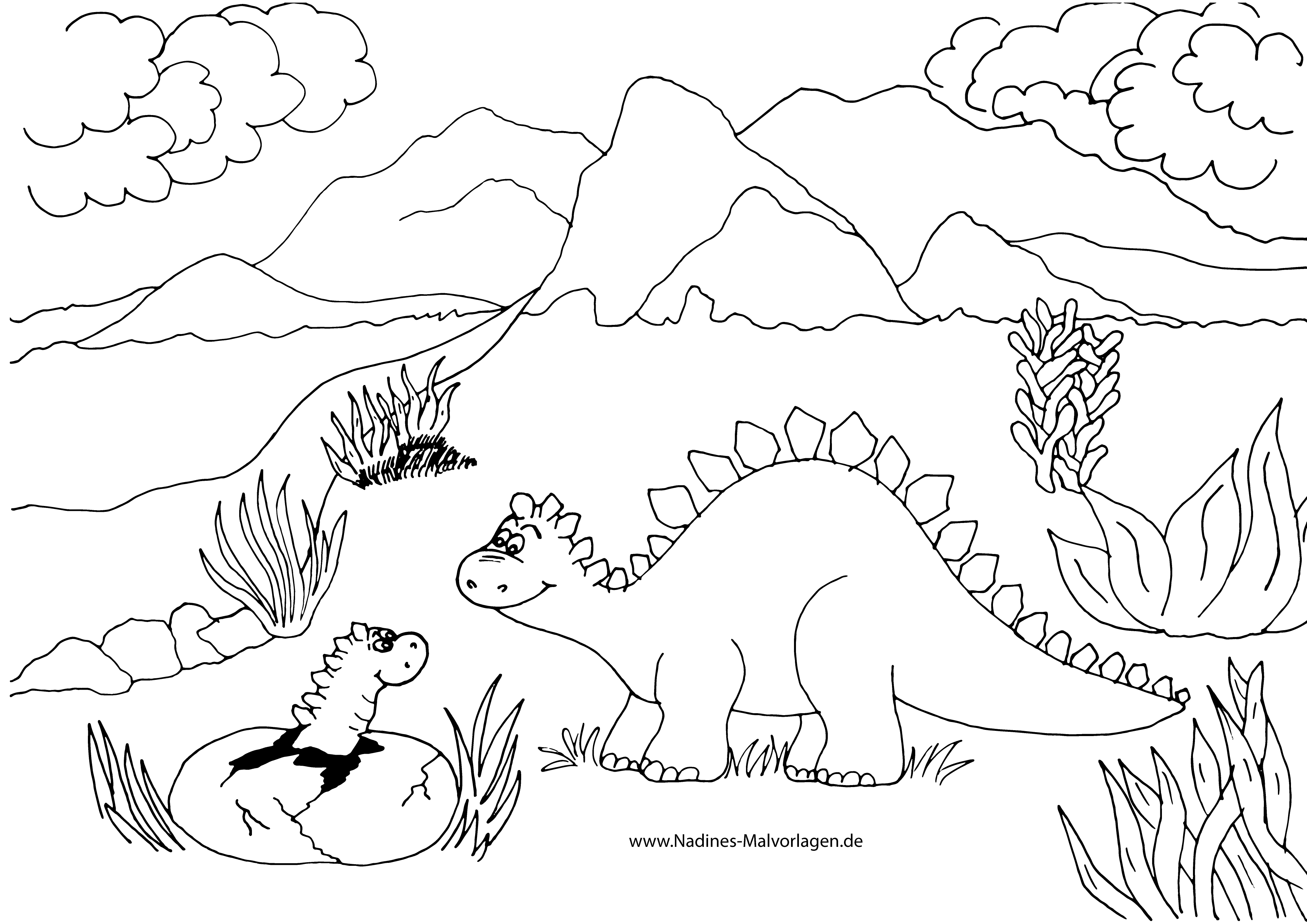 Ausmalbild Mama Dino mit Baby Dino aus dem Ei