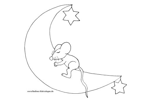Maus träumt auf Mond mit Sternen - Nadines Ausmalbilder