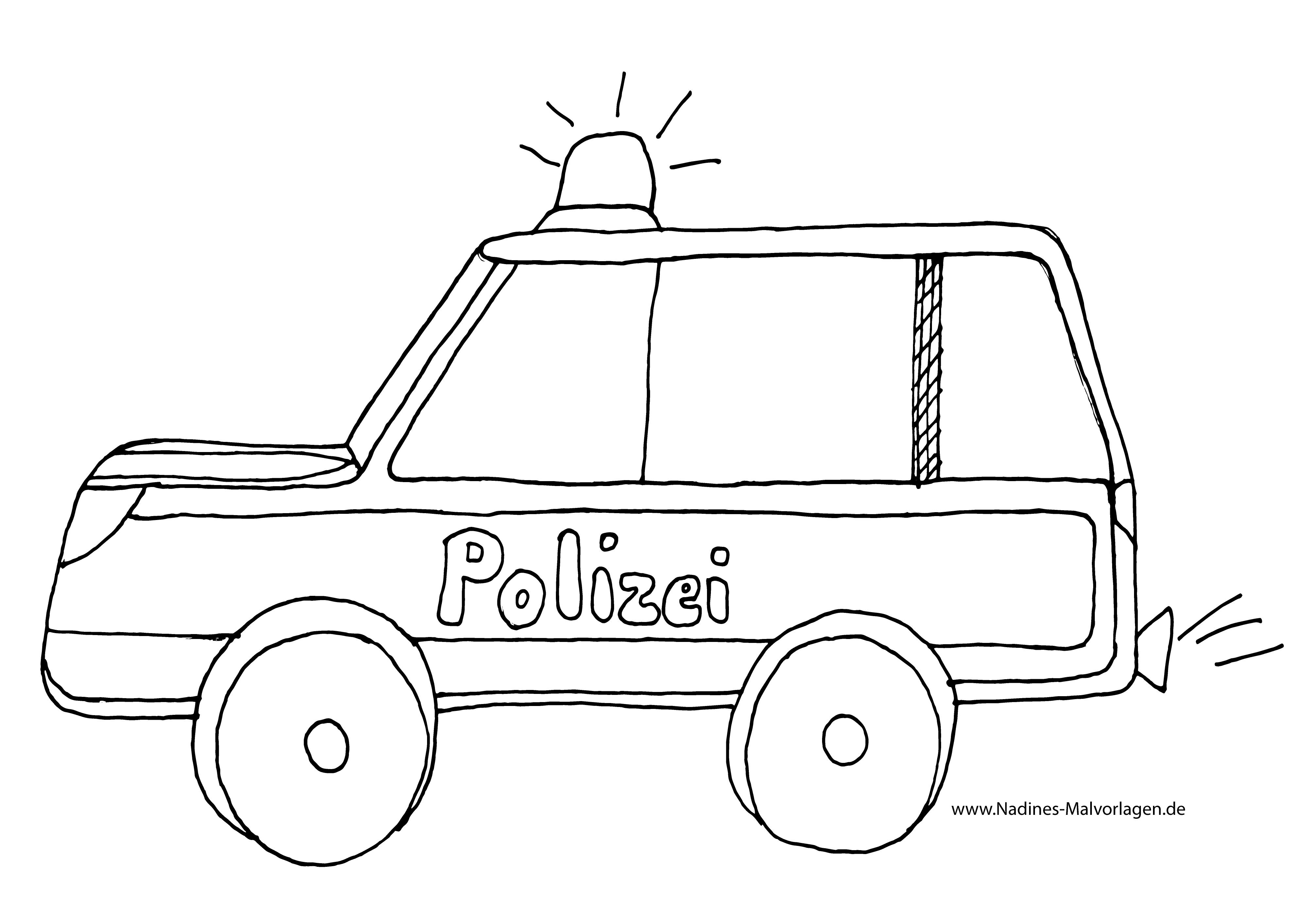 Ausmalbild Polizeiauto