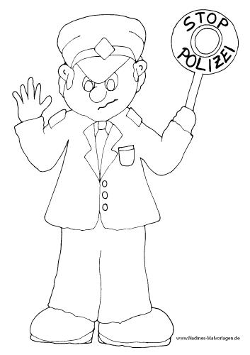 Ausmalbild Polizist mit Stoppschild
