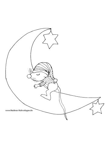 ausmalbild schlafmütze maus auf mond mit sternen
