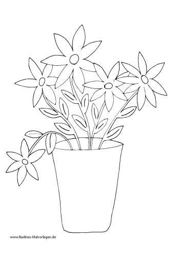 Ausmalbild Blumen in Blumenvase