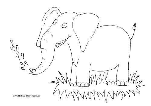 Ausmalbild Freudiger Elefant mit Wasserfontäne