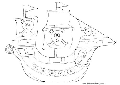 Ausmalbild Gefährliches Piratenschiff mit Totenköpfen