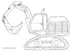 Ausmalbild Kettenbagger mit Schaufel