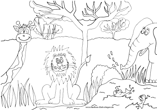 Löwe, Giraffe und Elefant in Afrika mit schwimmenden Fischen