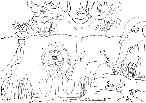Elefant Mit Tiger Nadines Ausmalbilder