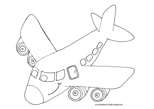 Ausmalbild Lachendes Flugzeug
