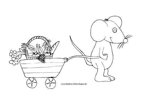 Ausmalbild Maus zieht Bollerwagen mit Picknickkorb