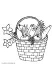 Ausmalbild Picknickkorb mit Baguette, Obst, Gemüse und Blumen