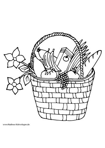 Picknickkorb mit Baguette, Obst, Gemüse und Blumen
