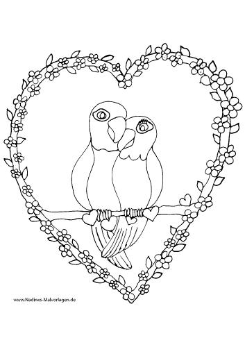 Verliebte Papageien im Herz mit Blumen