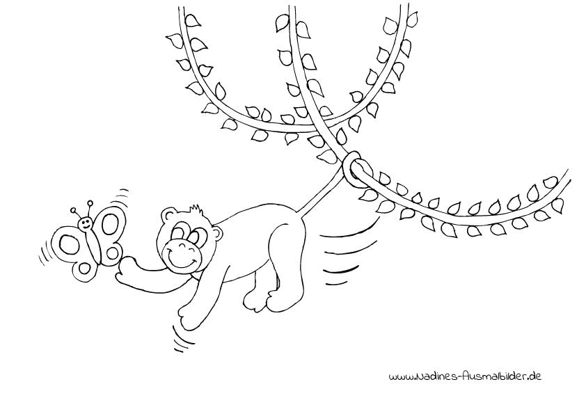 Ausmalbild Affe mit buntem Schmetterling