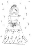 Ausmalbild Hübsche Prinzessin mit Krone und Blumen