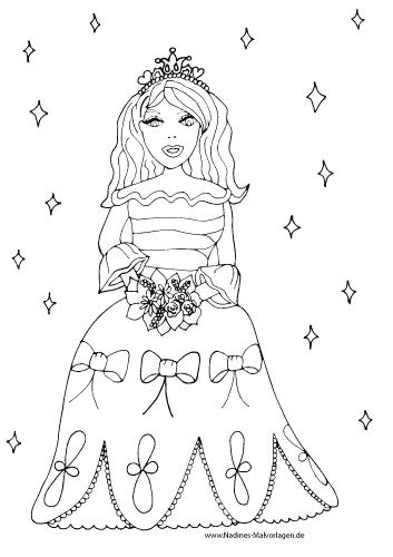 Hübsche Prinzessin Mit Blumen Nadines Ausmalbilder