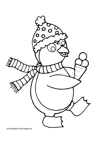 Ausmalbild Pinguin mit Mütze und Schal und Eis
