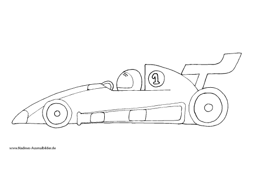 Ausmalbild Rennauto/Formel 1 Auto mit Rennfahrer