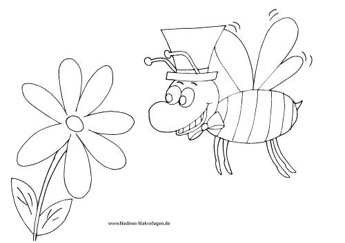 Ausmalbild Schicke Fliege mit Zylinder und Schleife und Blume