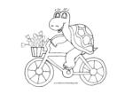 Schildkröte fährt Fahrrad mit Blumenstrauss