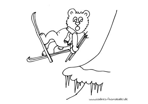 Ausmalbild Bär auf Ski