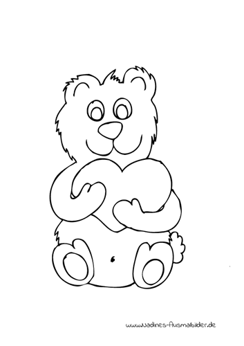 Ausmalbild Bär mit Herz