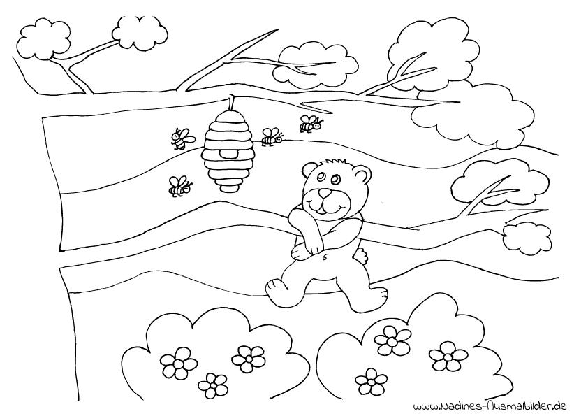 Ausmalbild Bär mit Honigtopf