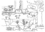 Ausmalbild Bauernhof mit Hoftieren
