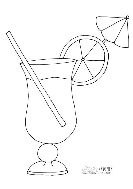 Ausmalbild Cocktail