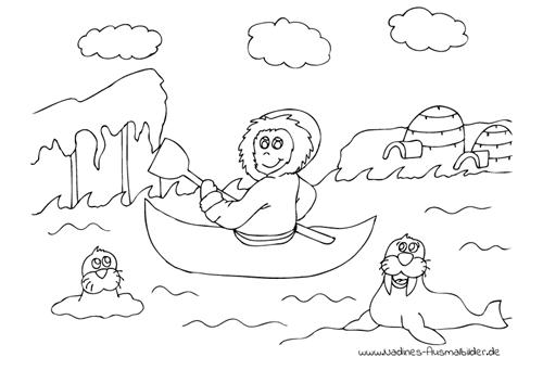 Ausmalbild Eskimo im Kanu mit Robben und Iglu