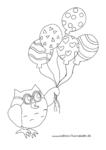 Ausmalbild Eule Eumil fliegt mit bunten Luftballons