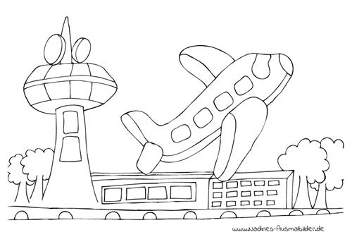 Ausmalbild Flugzeug auf Flughafen