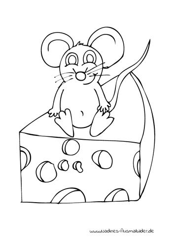 Ausmalbild Freche Maus sitzt auf Käse
