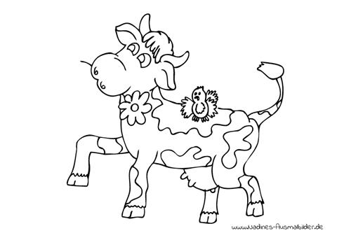 Ausmalbild Freudige Kuh